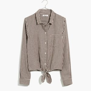 Madewell Flannel Tie-Front Shirt in Gingham Check
